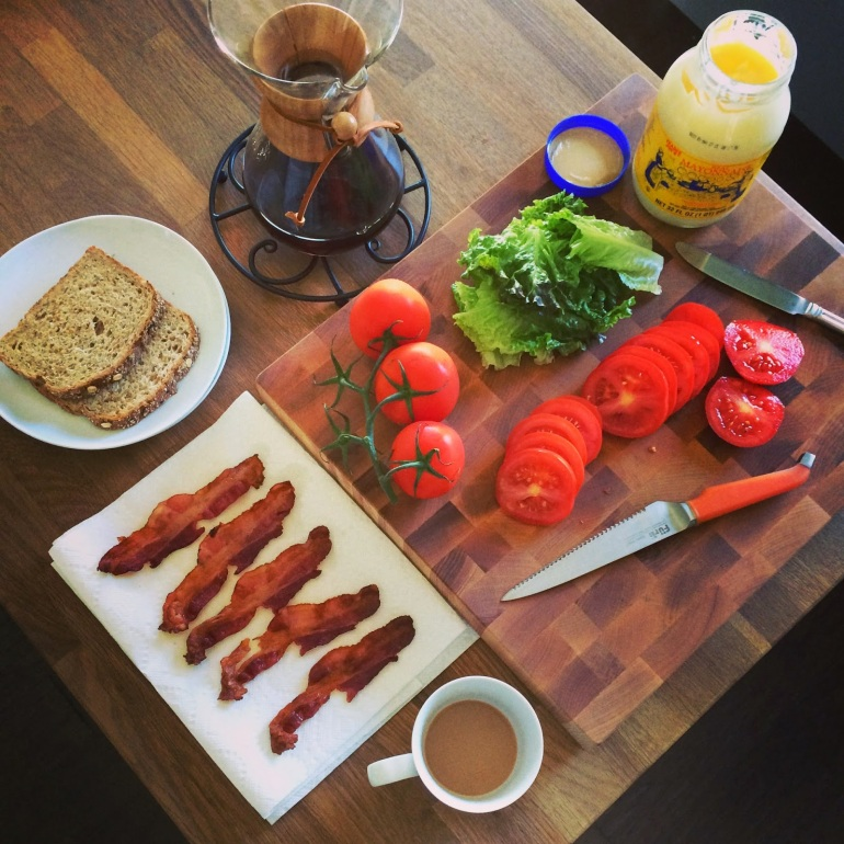 coffee and blt fixings - summer food