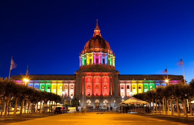San Francisco - city hall - pride lights