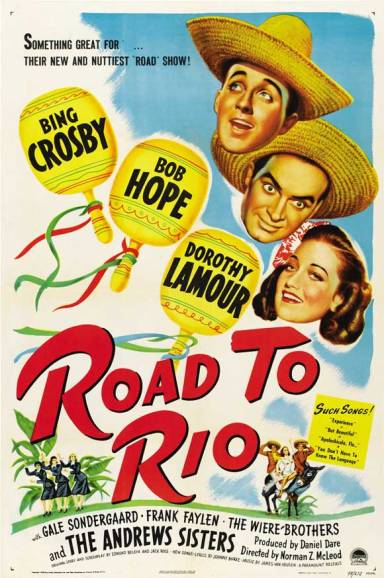 bing crosby bob hope road to rio movie poster