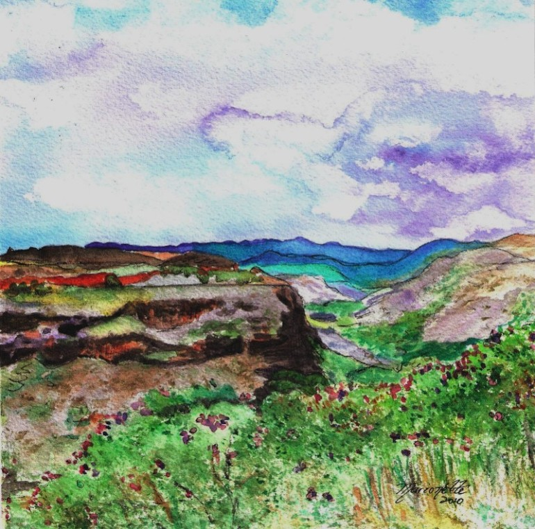 Hanapepe Valley Watercolor by Marionette Taboniar