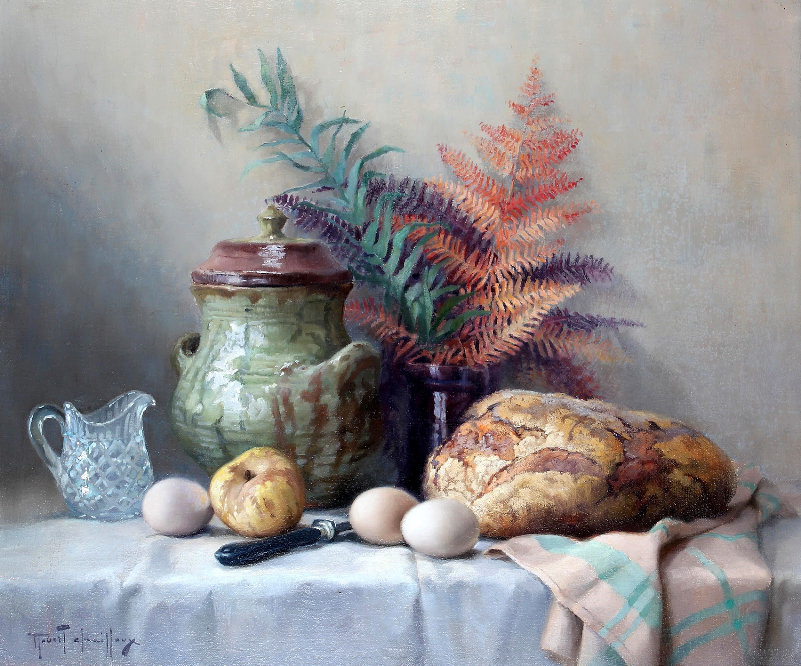 Robert Chailloux still life Bread, bracken, apple and eggs